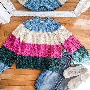 NWT Aritzia Colorblock Stripe Sweater